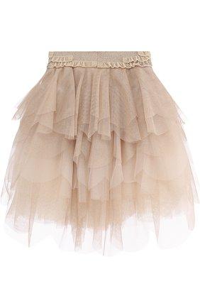 Детская многослойная юбка со стразами на поясе Monnalisa золотого цвета | Фото №1