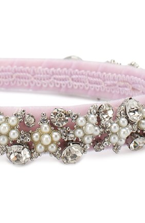 Ободок с кристаллами Monnalisa розового цвета | Фото №1
