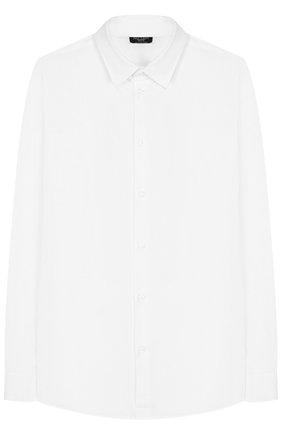 Детская хлопковая рубашка с воротником кент DAL LAGO белого цвета, арт. N402/7815/7-12 | Фото 1