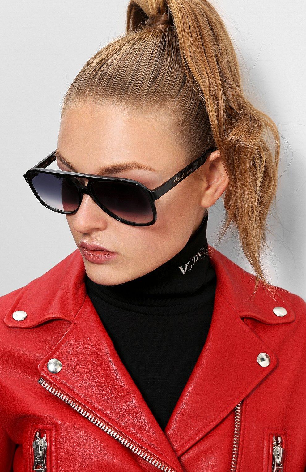 Женские солнцезащитные очки CELINE EYEWEAR черного цвета, арт. CL40032U 01B | Фото 2