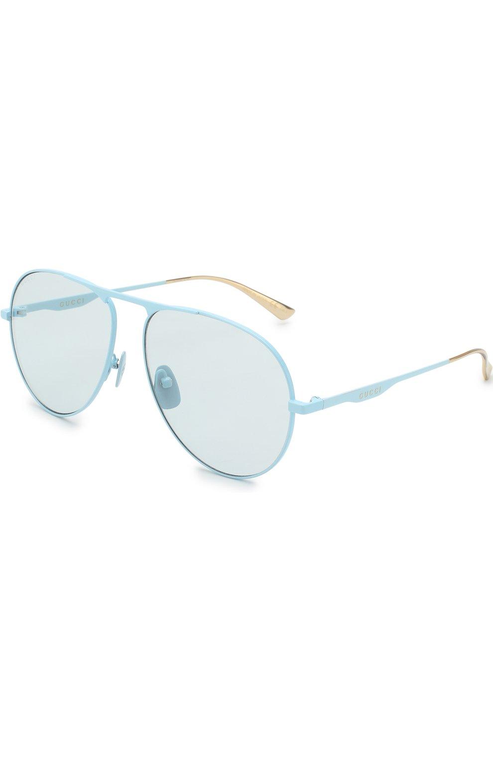 Женские солнцезащитные очки GUCCI голубого цвета, арт. GG0334 006 | Фото 1
