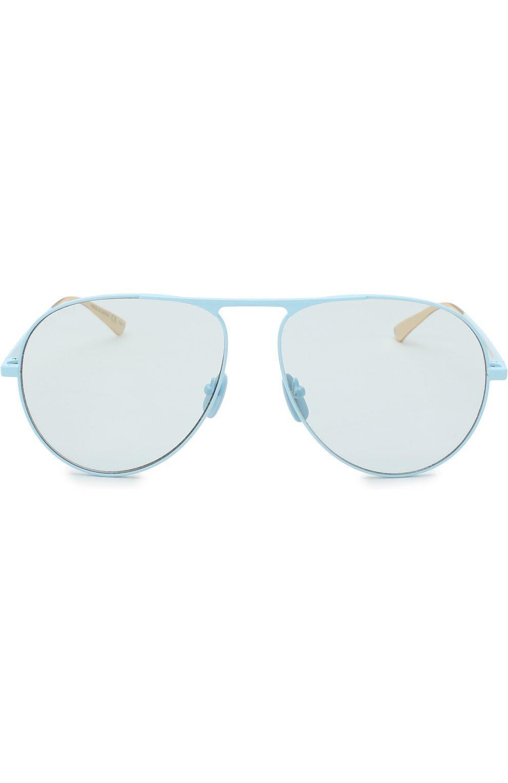 Женские солнцезащитные очки GUCCI голубого цвета, арт. GG0334 006 | Фото 3
