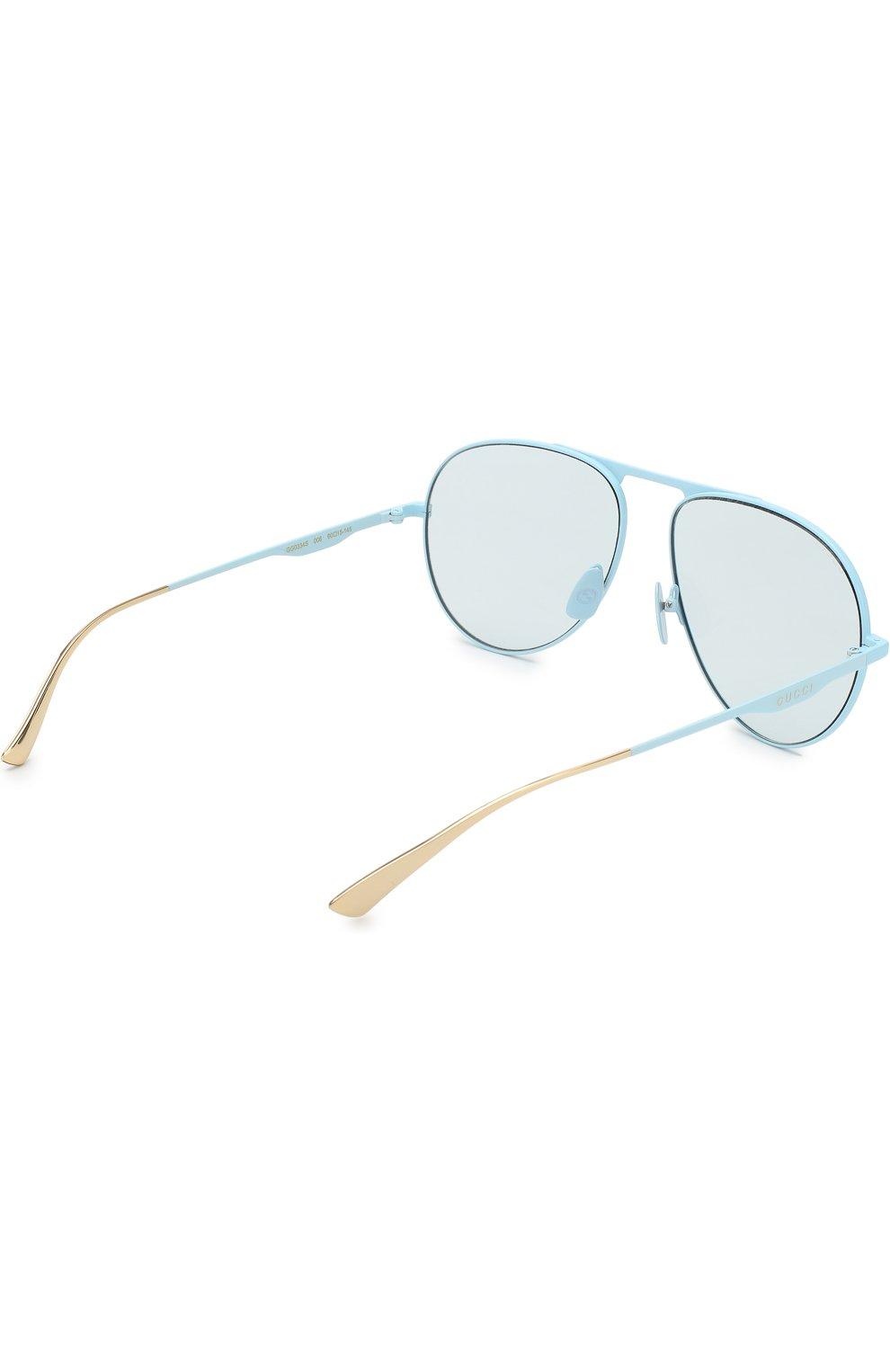 Женские солнцезащитные очки GUCCI голубого цвета, арт. GG0334 006 | Фото 4