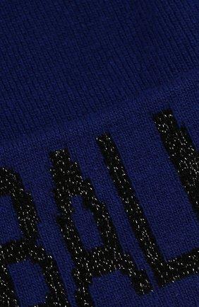 Шапка из смеси шерсти и кашемира Balmain синего цвета | Фото №3