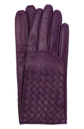 Кожаные перчатки с плетением intrecciato   Фото №1