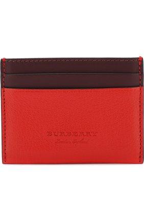 Женский кожаный футляр для кредитных карт BURBERRY красного цвета, арт. 4074983 | Фото 1