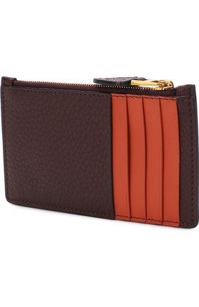 Кожаный футляр для кредитных карт с отделением на молнии Burberry бордового цвета | Фото №2