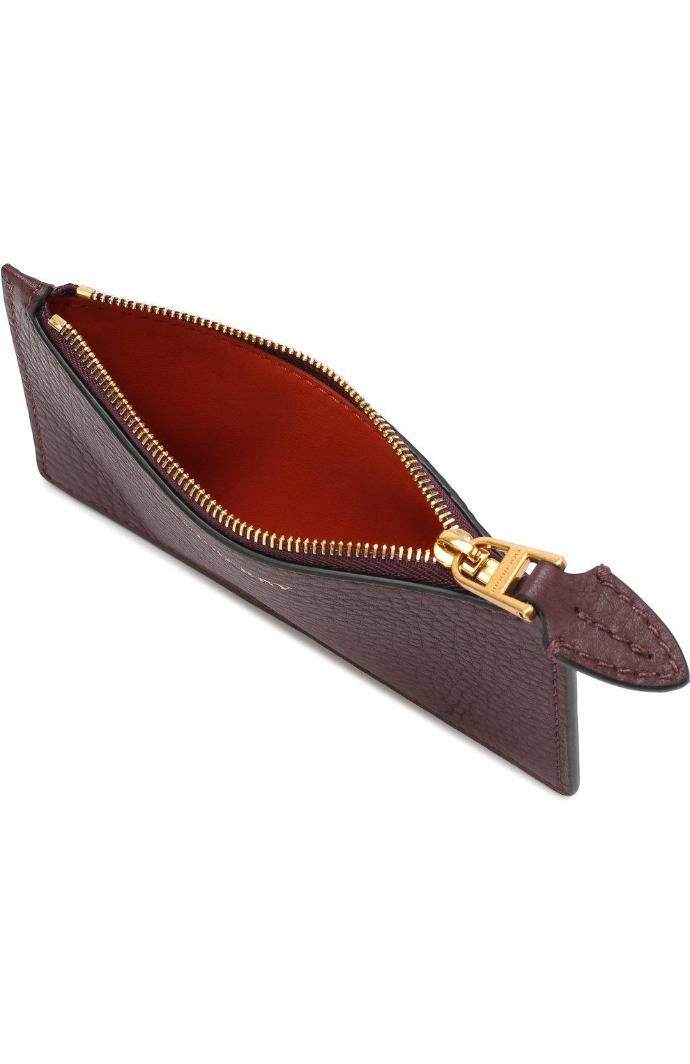 Кожаный футляр для кредитных карт с отделением на молнии Burberry бордового цвета | Фото №3