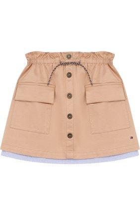 Мини-юбка с накладными карманами и поясом на кулиске | Фото №1