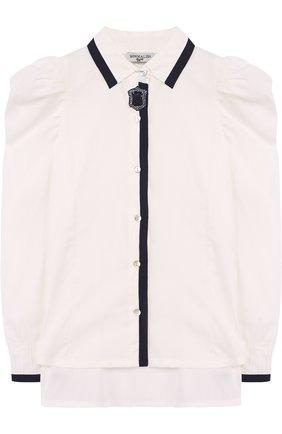 Хлопковая блуза со стразами | Фото №1