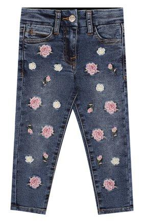 Детские джинсы с вышивками Monnalisa синего цвета | Фото №1