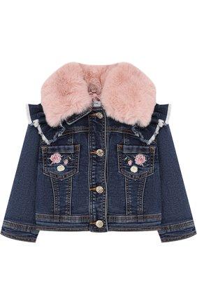 Джинсовая куртка с оборками и отделкой из искусственного меха | Фото №1