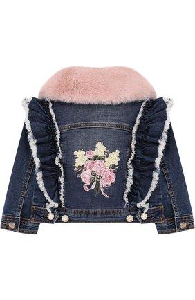 Джинсовая куртка с оборками и отделкой из искусственного меха Monnalisa синего цвета | Фото №1
