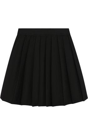 Детская юбка с защипами и эластичным поясом Monnalisa черного цвета | Фото №1
