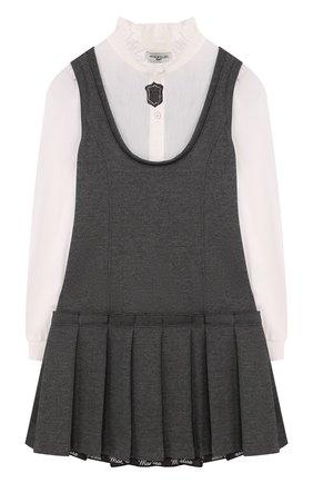 Детское платье с защипами и воротником-стойкой Monnalisa черного цвета | Фото №1