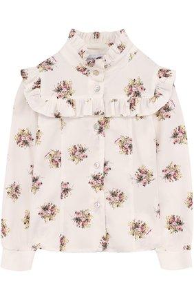 Детская блуза с воротником-стойкой и оборками Monnalisa бежевого цвета | Фото №1