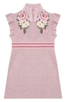 Детское хлопковое мини-платье с воротником-стойкой и аппликациями Monnalisa розового цвета | Фото №1