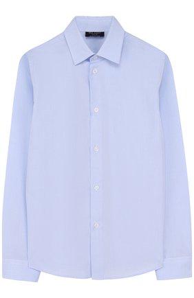 Детская хлопковая рубашка с воротником кент DAL LAGO голубого цвета, арт. N402/7628/7-12 | Фото 1