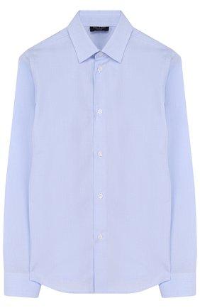Детская хлопковая рубашка с воротником кент DAL LAGO голубого цвета, арт. N402/7628/4-6 | Фото 1