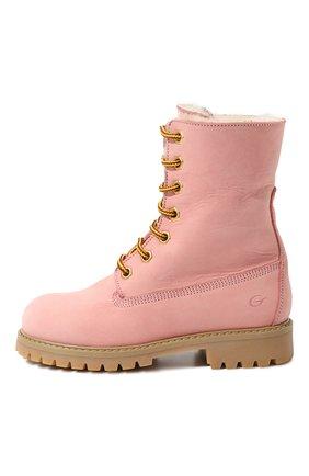 Детские кожаные ботинки с внутренней меховой отделкой Gallucci розового цвета | Фото №1