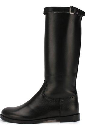 Детские кожаные сапоги с внутренней меховой отделкой Gallucci черного цвета | Фото №1