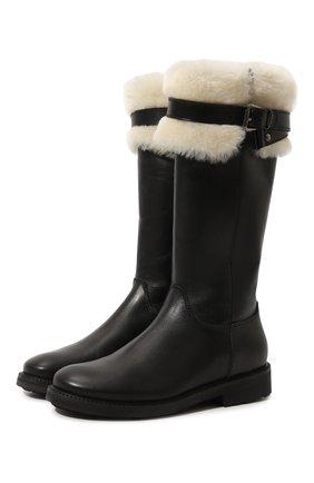 Детские кожаные сапоги с меховой отделкой Gallucci черного цвета | Фото №1