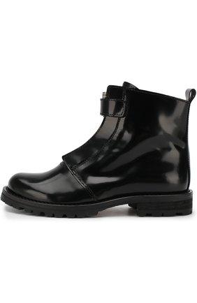 Детские кожаные ботинки на молнии Gallucci черного цвета | Фото №1