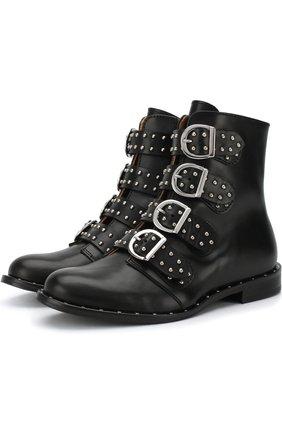 Детские кожаные ботинки с пряжками Gallucci черного цвета | Фото №1