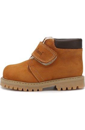 Детские кожаные ботинки с внутренней меховой отделкой Gallucci бежевого цвета | Фото №1