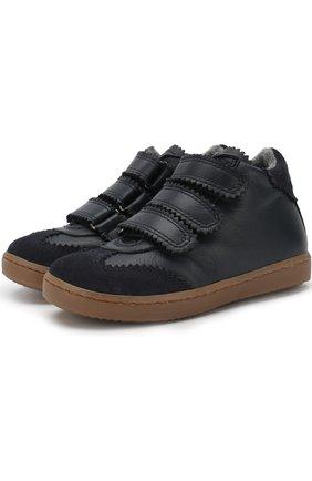 Детские кожаные ботинки с застежками велькро Gallucci синего цвета | Фото №1