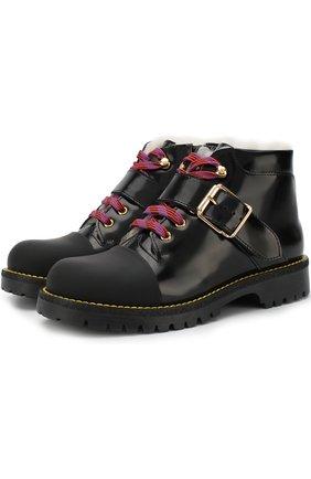 Детские кожаные ботинки с внутренней меховой отделкой Gallucci черного цвета | Фото №1