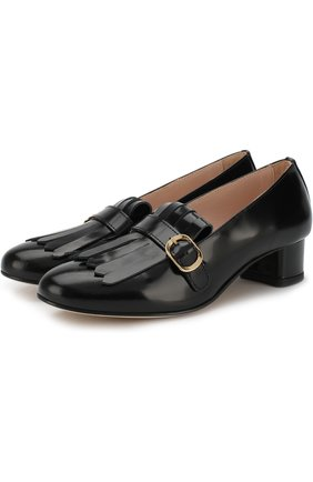 Детские кожаные лоферы с пряжкой и бахромой на каблуке Gallucci черного цвета | Фото №1