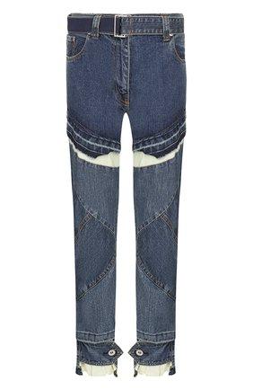 Укороченные джинсы с поясом и контрастной вставкой | Фото №1