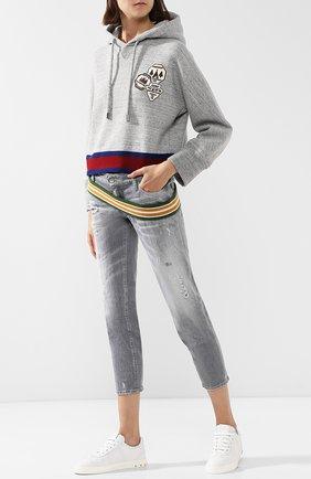 Укороченные джинсы с потертостями Dsquared2 светло-серые | Фото №1