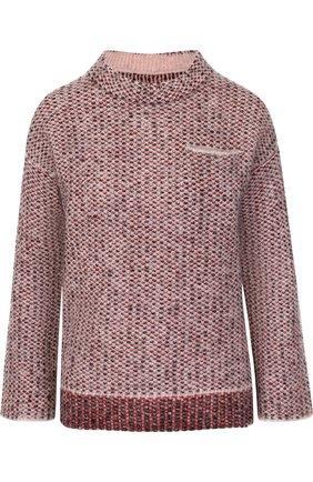 Вязаный пуловер с укороченным рукавом   Фото №1