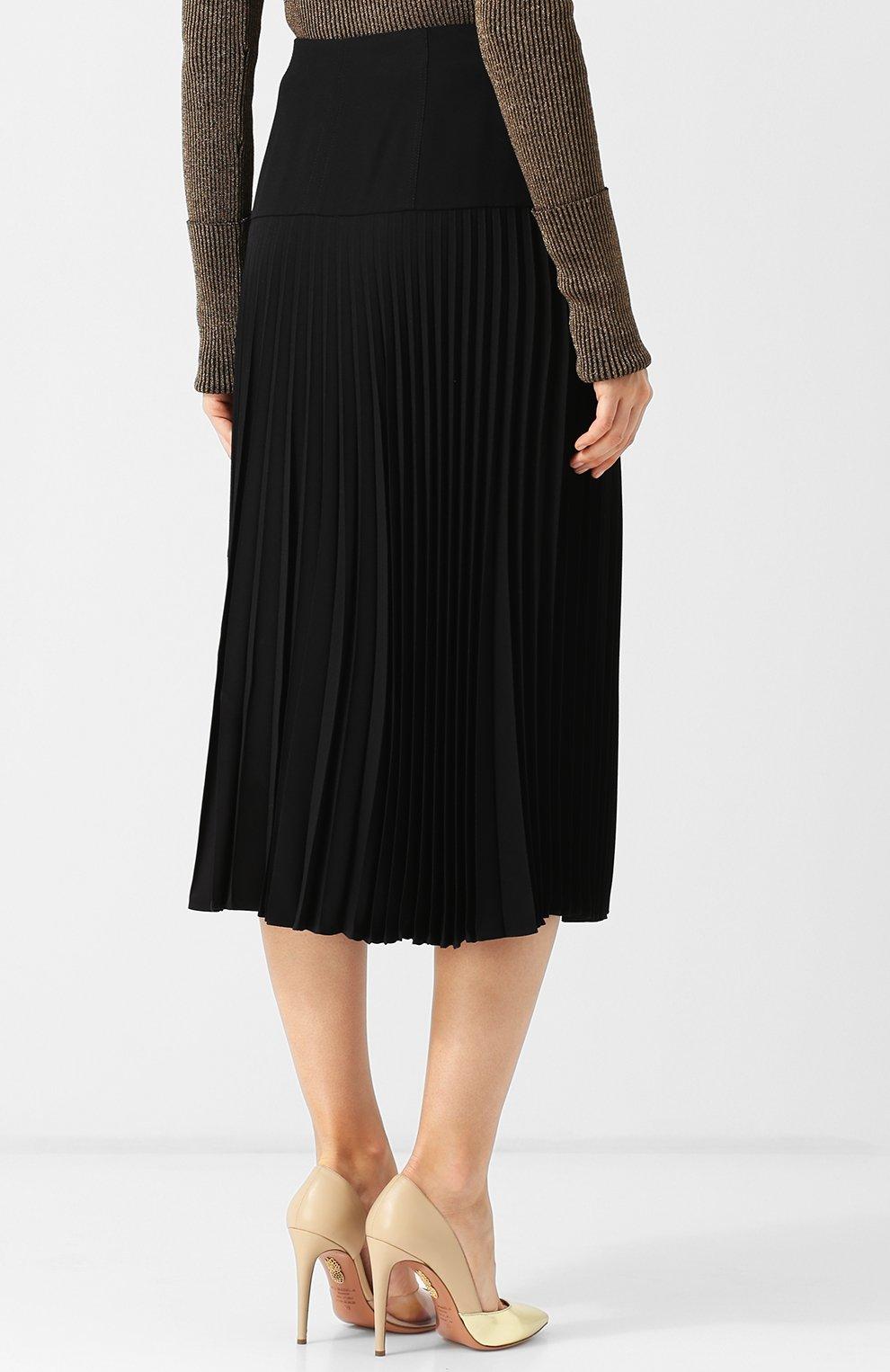 7fda7b476dd Женская черная однотонная плиссированная юбка-миди FENDI — купить за ...