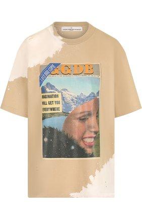 Хлопковая футболка с круглым вырезом и принтом Golden Goose Deluxe Brand бежевая | Фото №1
