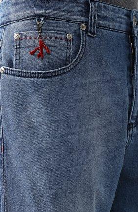 Джинсы прямого кроя Isaia голубые | Фото №5