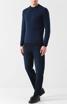 Джемпер из шерсти тонкой вязки John Smedley темно-синий | Фото №1