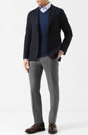 Пуловер из шерсти тонкой вязки John Smedley синий | Фото №1