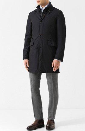 Пуховое пальто на молнии с подстежкой Moorer темно-синего цвета | Фото №1