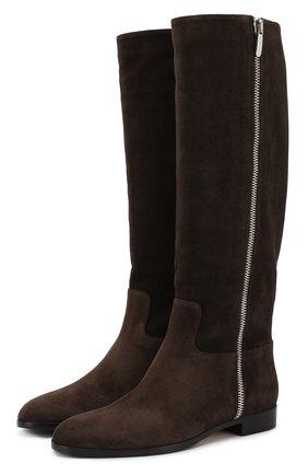 Замшевые сапоги на низком каблуке Sergio Rossi темно-коричневые | Фото №1