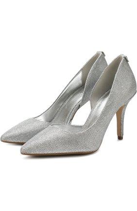 Туфли из металлизированного текстиля на шпильке | Фото №1