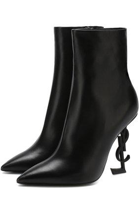 Женские кожаные ботильоны opyum на фигурном каблуке SAINT LAURENT черного цвета, арт. 532160/0RRUU | Фото 1