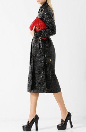 Лаковые туфли Tribute на устойчивом каблуке и платформе Versace черные | Фото №1
