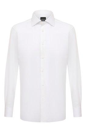 Мужская хлопковая сорочка с воротником кент ERMENEGILDO ZEGNA белого цвета, арт. 401031/9MS0BR | Фото 1