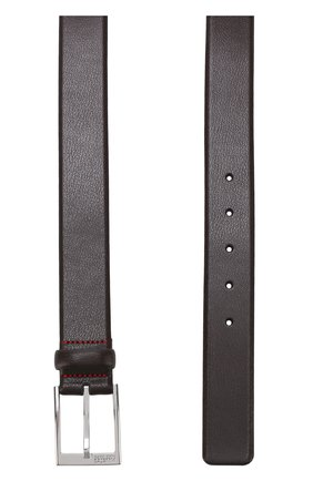 Кожаный ремень с металлической пряжкой HUGO темно-коричневый   Фото №1