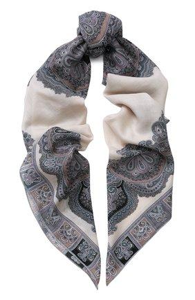 Женский платок из смеси шерсти и шелка с принтом MICHELE BINDA бежевого цвета, арт. 20WL036551 | Фото 1