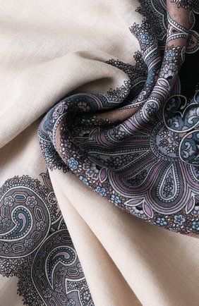 Женский платок из смеси шерсти и шелка с принтом MICHELE BINDA бежевого цвета, арт. 20WL036551 | Фото 2