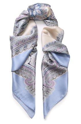 Женский шелковый платок с принтом MICHELE BINDA голубого цвета, арт. 20036605 | Фото 1